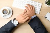 Businessman With Wrist Watch Working At Office Table, Closeup. Time Management poster
