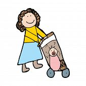 child's drawing of a woman pushing pram