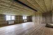 Construction And Renovation Of Big Light Spacious Empty Room With Oak Floor, Walls And Ceiling Insul poster