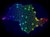 Bright Mesh Vector Map Of Sao Paulo State With Glare Effect. Light Spots Have Bright Spectrum Colors poster