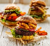 Veggie Burgers, Homemade Vegan Burger With Fresh And Grilled Vegetables And Aromatic Curry Sauce On  poster