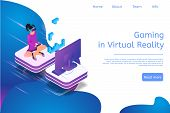 Isometric Banner Gaming In Virtual Reality In 3d. Vector Illustration Girl Play Video Game On Tv Usi poster