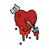 pierced heart cartoon
