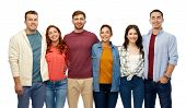 friendship and people concept - group of smiling friends over white background poster