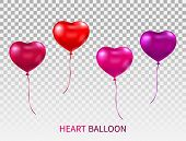 Realistic Heart Shaped Balloons Set Isolated On Transparent Background. Red, Pink And Purple Glossy  poster