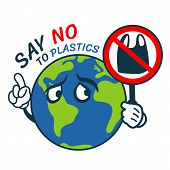 Say No To Plastic With World Charator Hold Stop Plastic Banner Vector Design poster