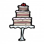 tiered cake on stand cartoon
