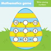 Educational Game For Children. Complete Equations. Study Subtraction And Addition. Easter Theme Math poster