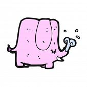 pink elephant spouting water cartoon