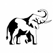 Stand Elephant With Roaring Logo Design Inspiration. Elephant Logo On White Background. Simple Drawn poster