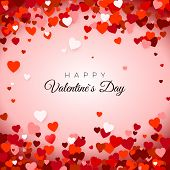 Happy Valentine`s Day. Valentine`s Day Greeting Card. Valentines Day Background With Hearts. Holida poster