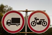 Road Signs, Road Sign On A Background Of Trees, The Movement Of Trucks Is Prohibited, The Movement O poster