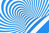 Swirl Optical 3d Illusion Raster Illustration. Contrast Blue And White Spiral Stripes. Geometric Win poster