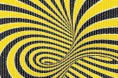 Torus Optical 3d Illusion Raster Illustration. Twisting Loops And Spots Pattern. Black, Yellow Spira poster