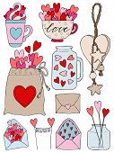 Set Of Hand Drawn Vector Illustration Of A Mason Jar, Love Letter, Topper, Pouch, Mug, Decorative To poster