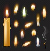 Candle Flame Vector Fired Flaming Candlelight And Flammable Fire Light Illustration Fiery Flamy Real poster