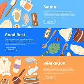 Sauna Vector Wooden Heat Spa Relaxation Therapy And Hot Steam Healthcare Backdrop Relax Therapy Sign poster