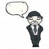 hombre de negocios británico de dibujos animados con el bocadillo de diálogo