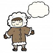 cartoon Eskimo in thick winter coat