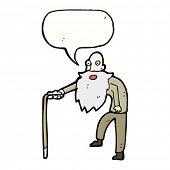 Cartoon oude man met wandelstok