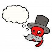 Постер, плакат: мультфильм смеется Красный Череп в цилиндре