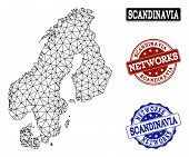 Black Mesh Vector Map Of Scandinavia Isolated On A White Background And Scratched Watermarks For Net poster