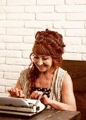 Writing A Report. Old Woman Work In Writer Office. Journalist Work In Vintage Office. Senior Woman T poster