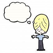 cartoon blond boy daydreaming