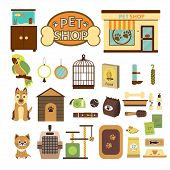 Pet Shop Decorative Icons. Set  Icons With Parrot, Dog And Cat And Goods For Pets. Vector Illustrati poster