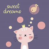 Cute Cartoon Cat And Inscription Sweet Dreams, Greeting Card With Charming Kitty On Purple Backgroun poster