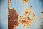 Grunge Texture: Rusty Metal Surface Covered With Blue Paint Flaking And Cracking Texture, With Seam  poster