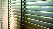 Evening Sun Light Outside Wooden Window Blinds, Sunshine And Shadow On Window Blind, Decorative Inte poster
