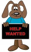Dog Cartoon Holding Help Wanted Sign