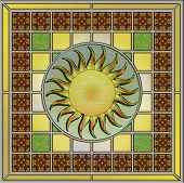 Stained Glass Panel With sun