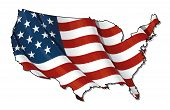 US Flag-Map Flat. Clipping Path