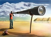 stock photo of voyeur  - Surreal illustration of a photographer using an unfeasibly long lens - JPG