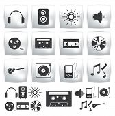 Vector icons set . Music sound