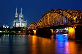 image of koln  - Wonderful view of night Cologne over the Rhein river - JPG