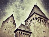 Retro-styled representation of the Estavayer castle (Fribourg / Switzerland)