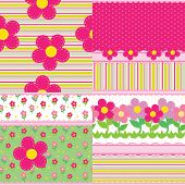 set of vector backgrounds for a baby girl