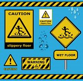 raster sign caution slippery floor wet flor warning collection