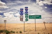 stock photo of intersection  - Route 66 intersection signs in Adrian - JPG
