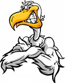 Aggressive Pelican Or Seagull With Crossed Arms Cartoon Vector Illustration