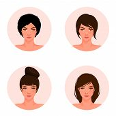 set of illustrations of a beautiful young girl with different hair style