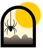 stock photo of black widow spider  - black spider in window and yellow sun - JPG