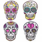 stock photo of sugar skulls  - Mexican skull set - JPG