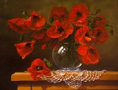 Oil painting on canvas,  poppy
