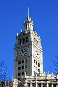 Clock tower on downtown Chicago