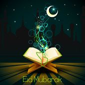 Quran on Eid Mubarak background