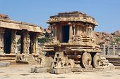 picture of vijayanagara  - Stone Chariot in Vittala Temple Hampi a village on the place of the great ancient city Vijayanagara - JPG